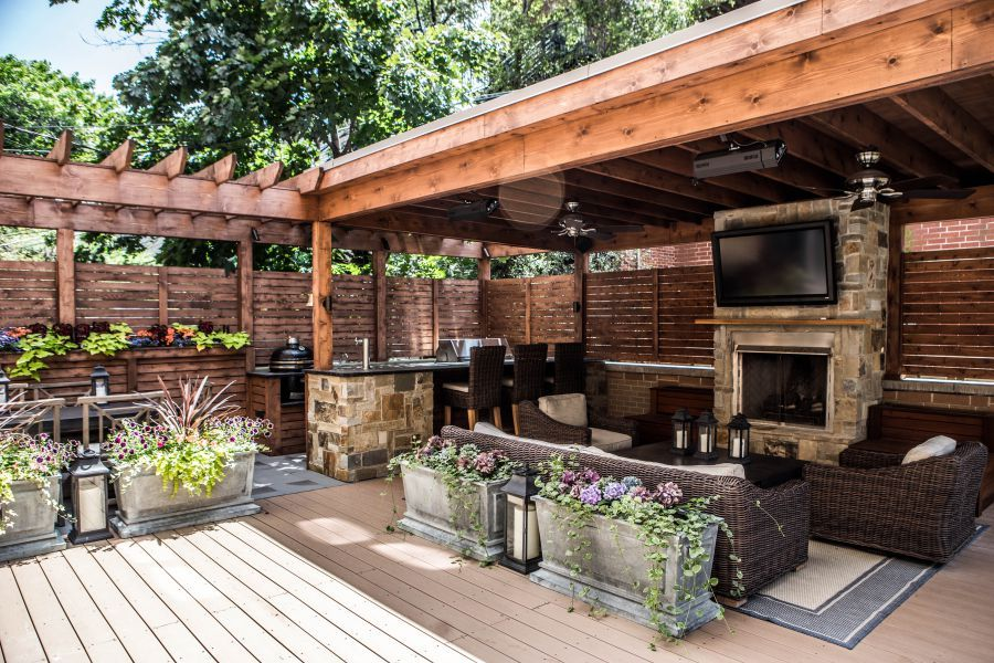 outdoor living garage roof deck at its best this space features both a fireplace and full on outdoor kitchen on deck id=44550