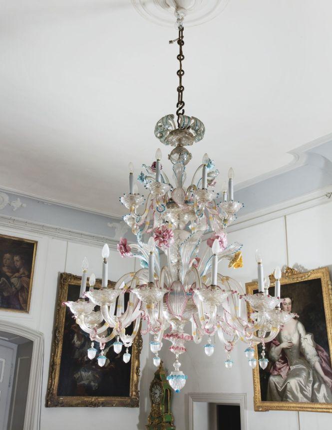 A Venetian Twenty Lights Murano Glass Chandelier Late 19th Century