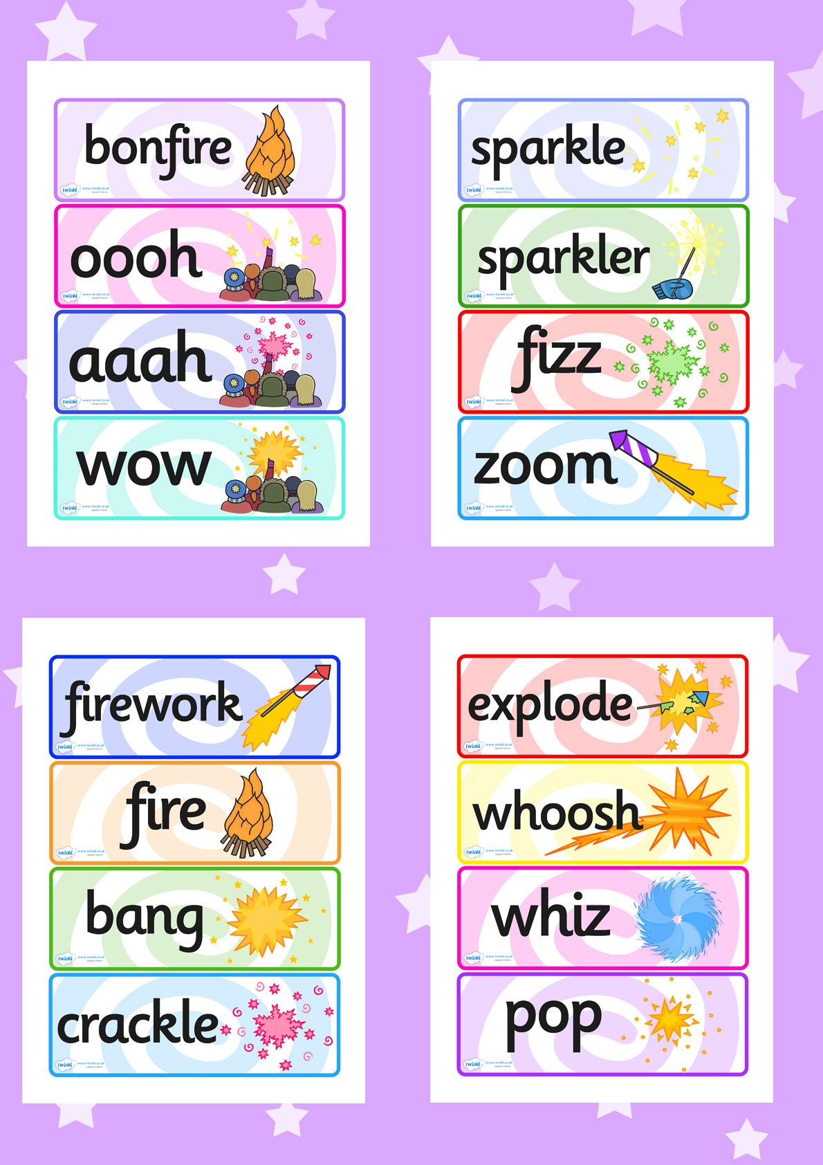 Twinkl Resources Gt Gt Bonfire Night Fireworks Word Cards