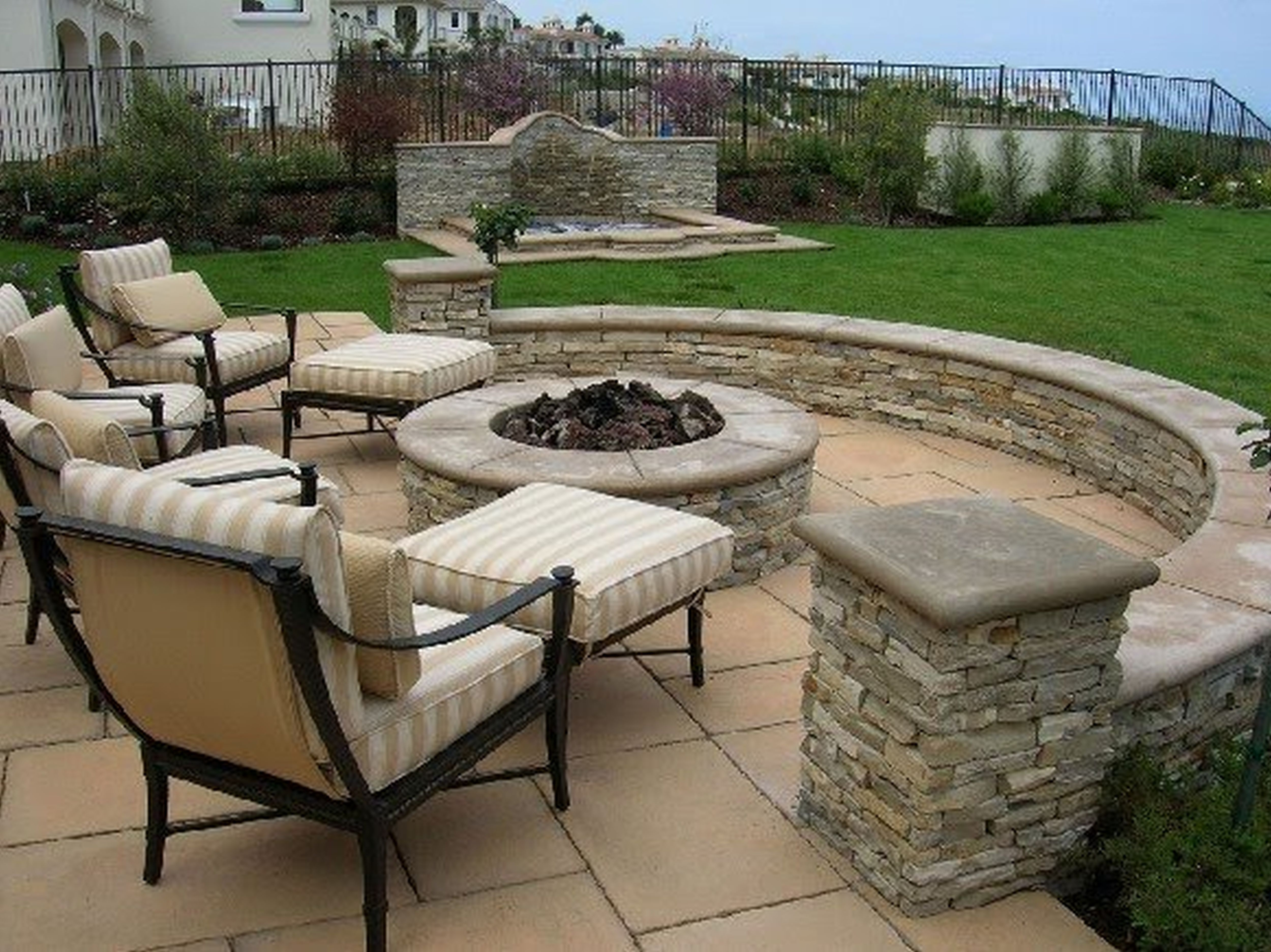 Fireplace Outdoor Adorable Rustic Green Covered Black Iron ... on Small Backyard Stone Patio Ideas id=80640