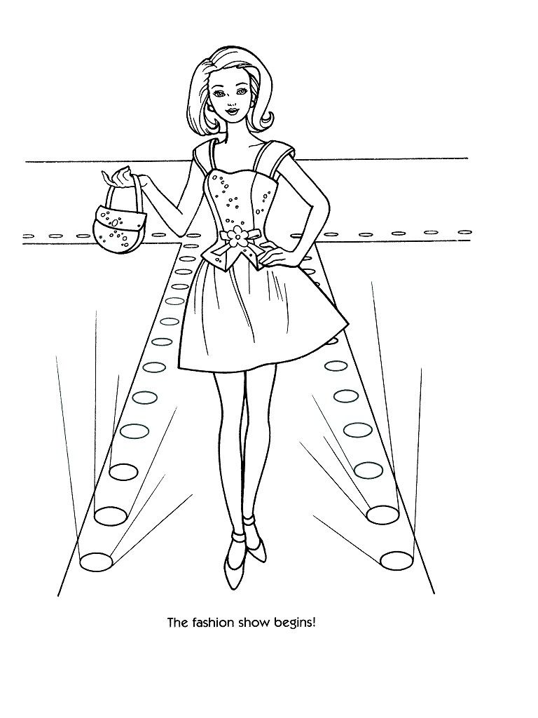 Barbie Fashion Show Coloring Pages Coloring Page