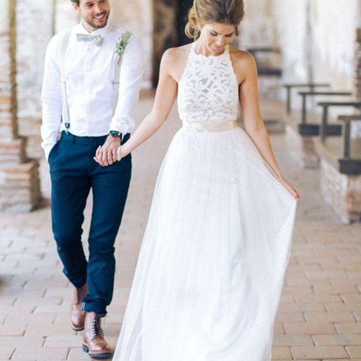 High Neck Lace Long Sheath Simple Design Wedding Party Dresses