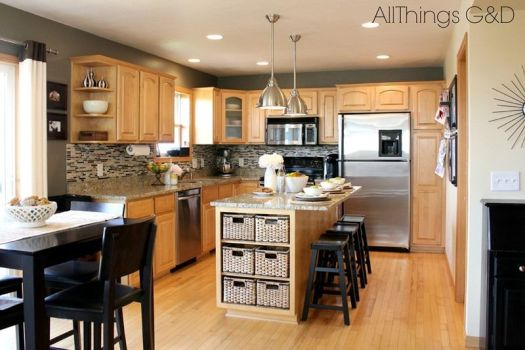 Gray Kitchen Sherwin Williams Anonymous Paint Color Diy Tile Backsplash Maple Cabinets Stainless Steel Light Pendants I Like The Baskets On