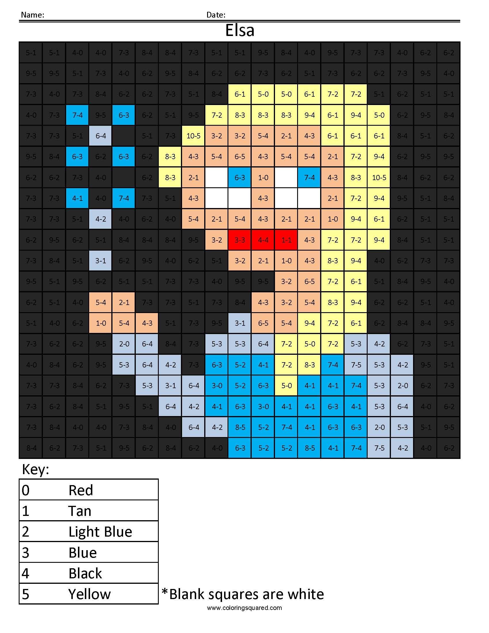 Elsa Basic Subtraction Coloring Squared