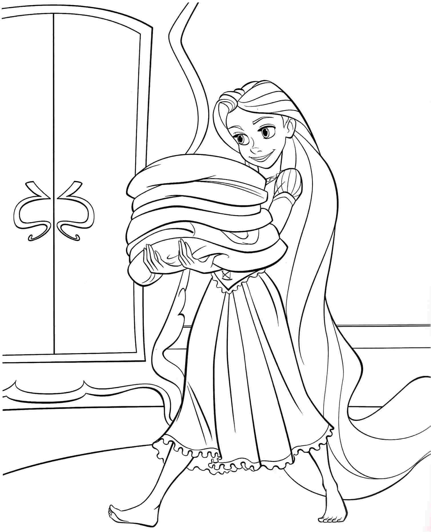 Coloring Pages Disney Princess Tangled Rapunzel Free For