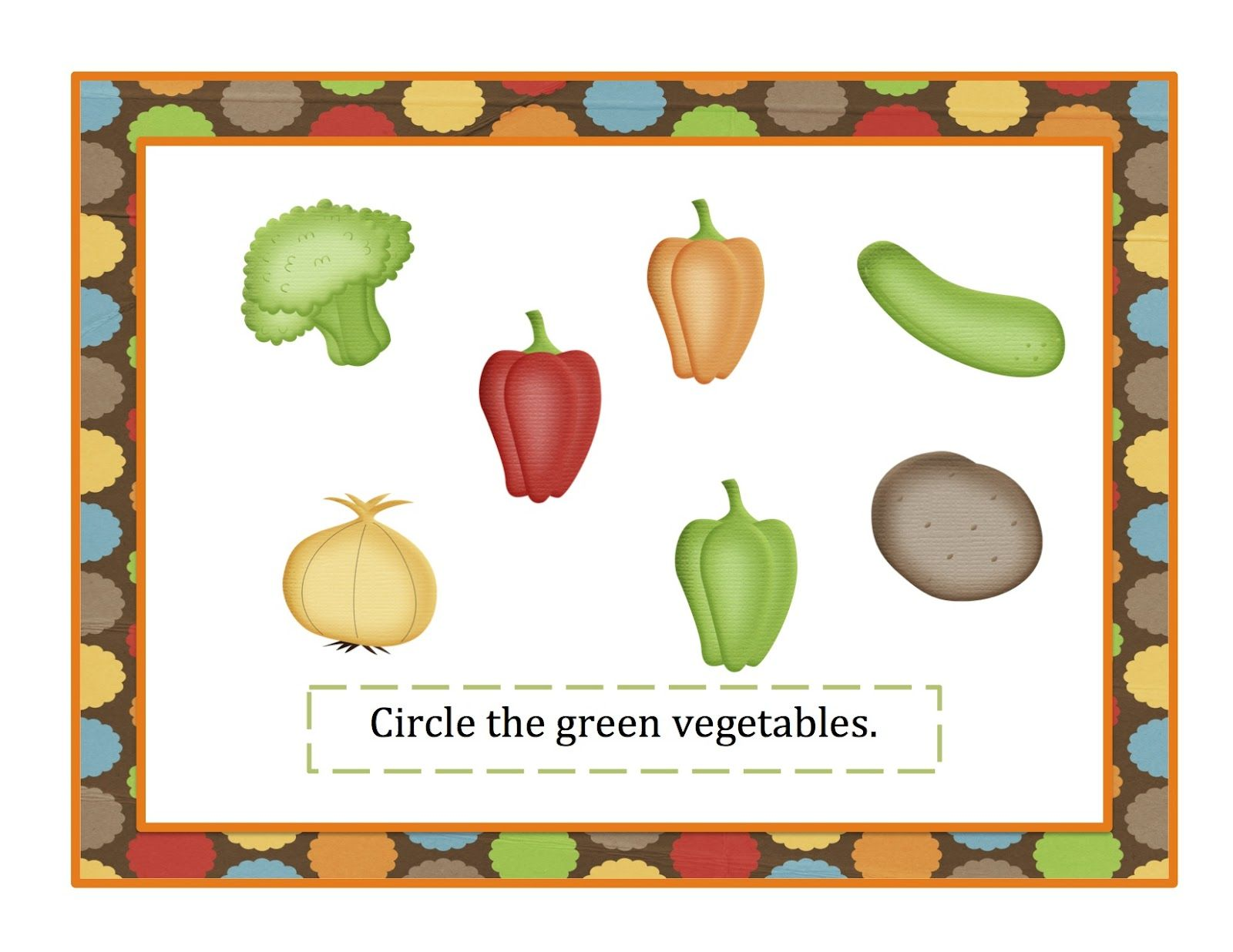 Preschool Printables Vegetable Printable