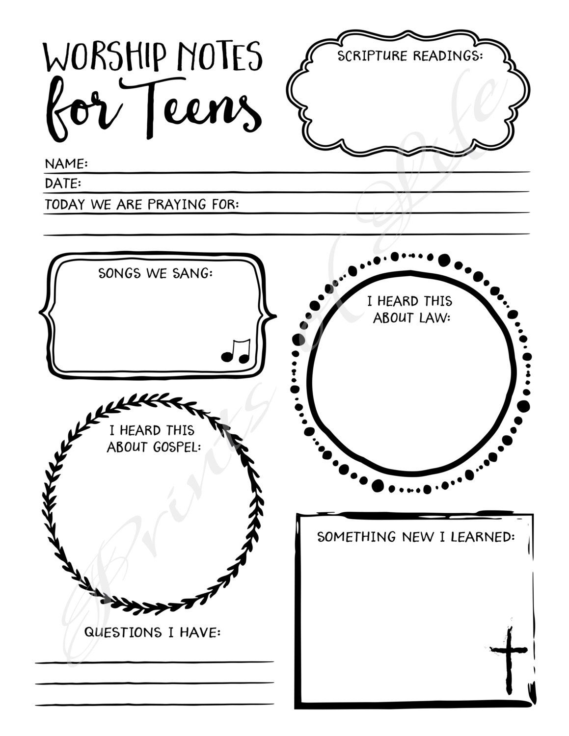 Worship Notes For Teens Sermon Notes Boys Girls By