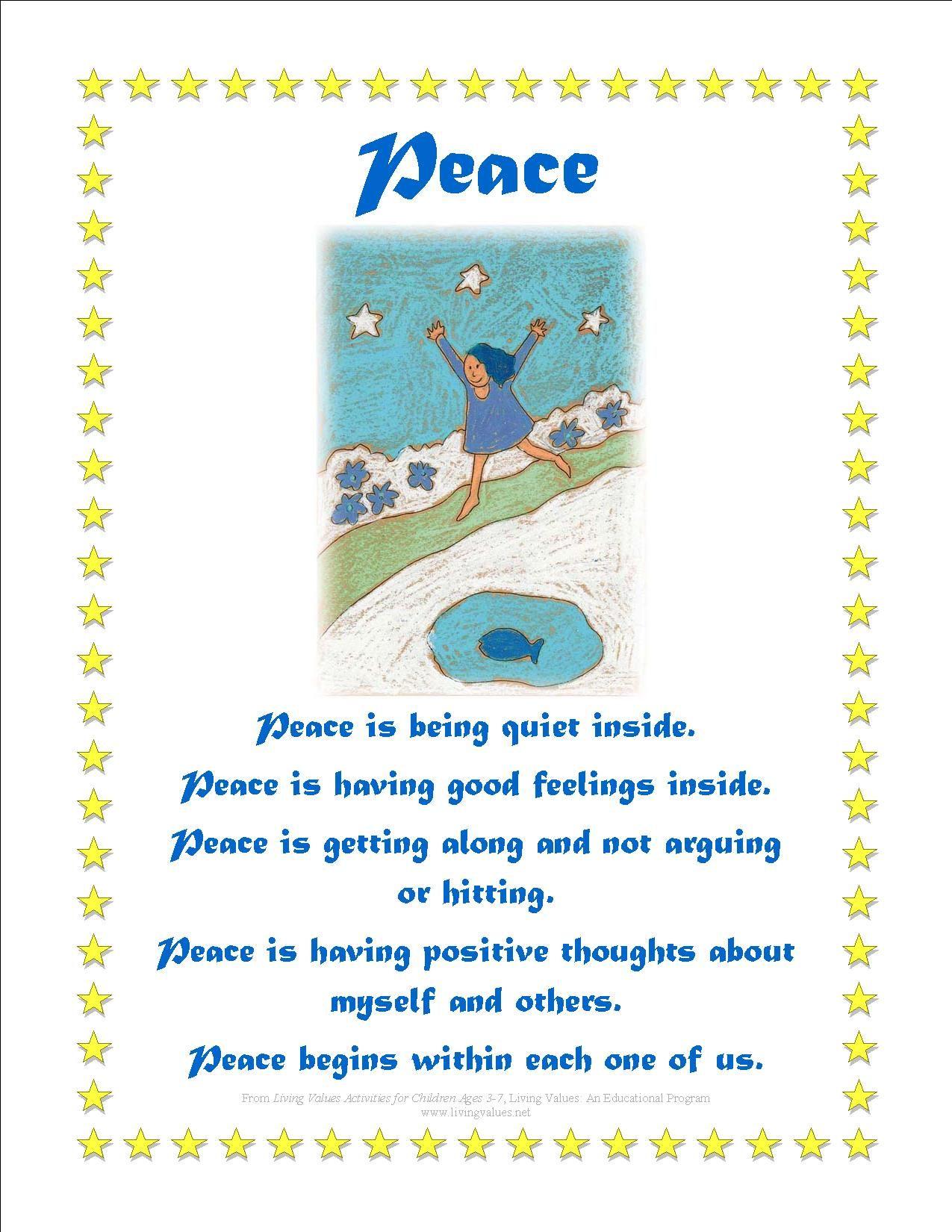 Peace Poems For Kindergarten