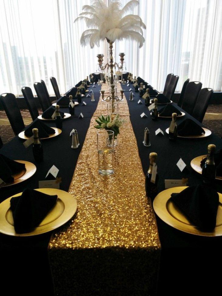 Black Table Linens Gold Charger Plates Black Napkins pyramid fold