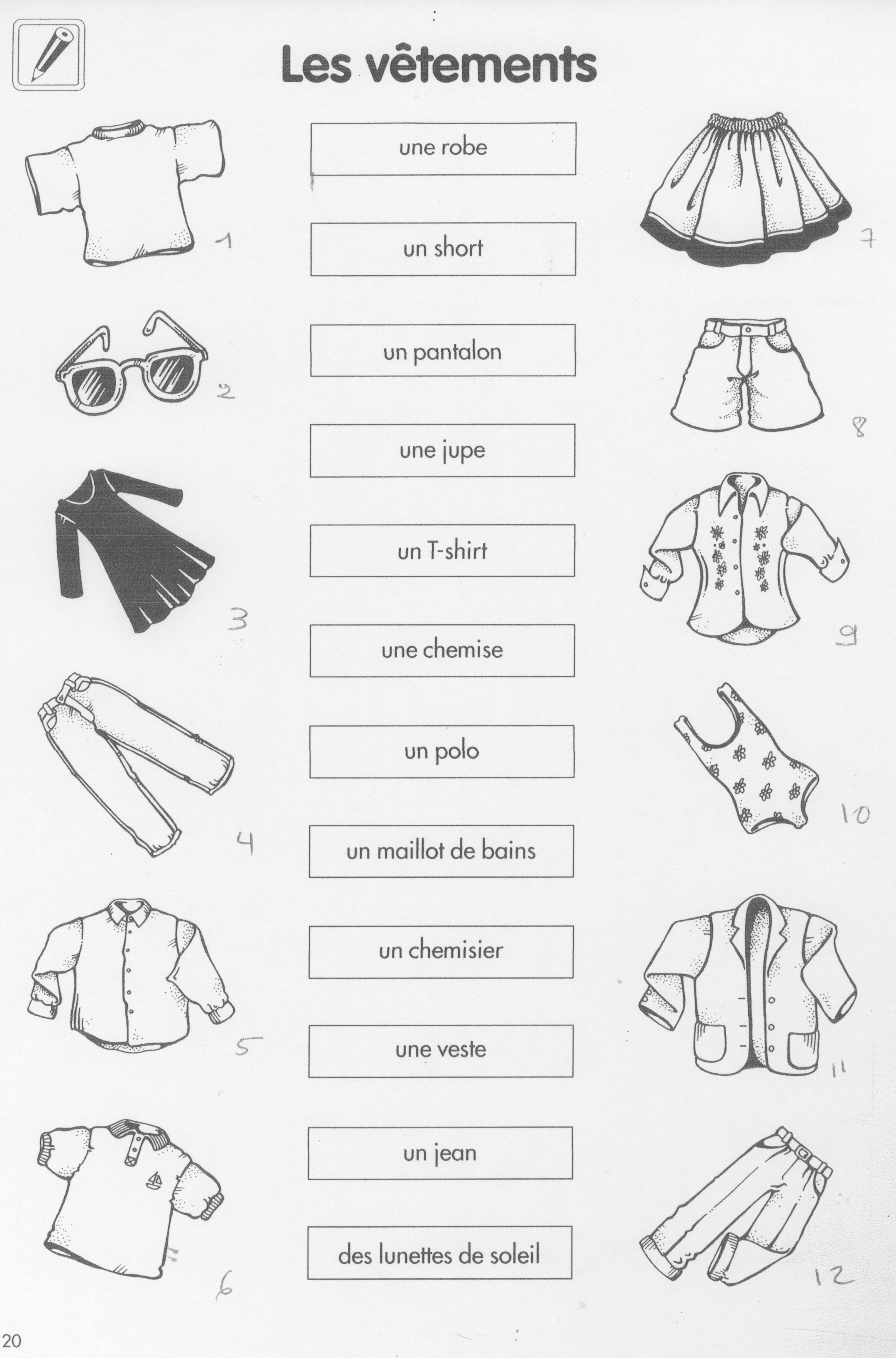 French Clothes Worksheet
