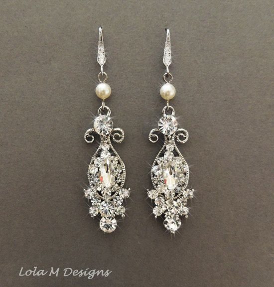 Awesome Vintage Inspired Bridal Earrings Wedding Jewelry Crystal Chandelier