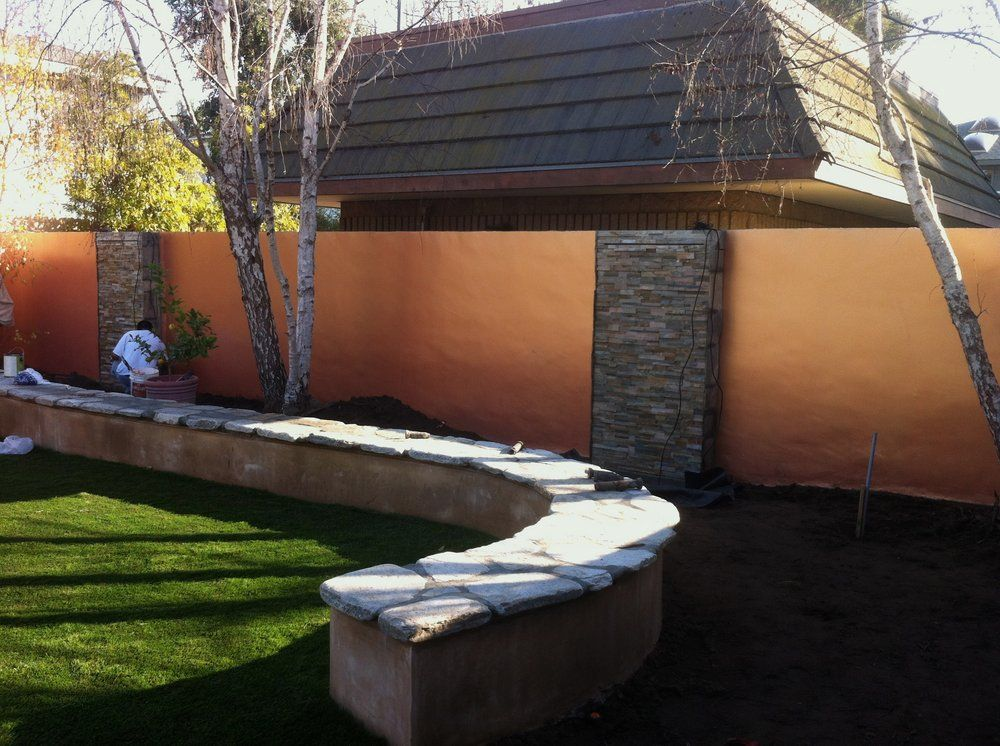 We smooth stucco'd this cinder block wall + 2 coats of ... on Backyard Cinder Block Wall Ideas id=70288