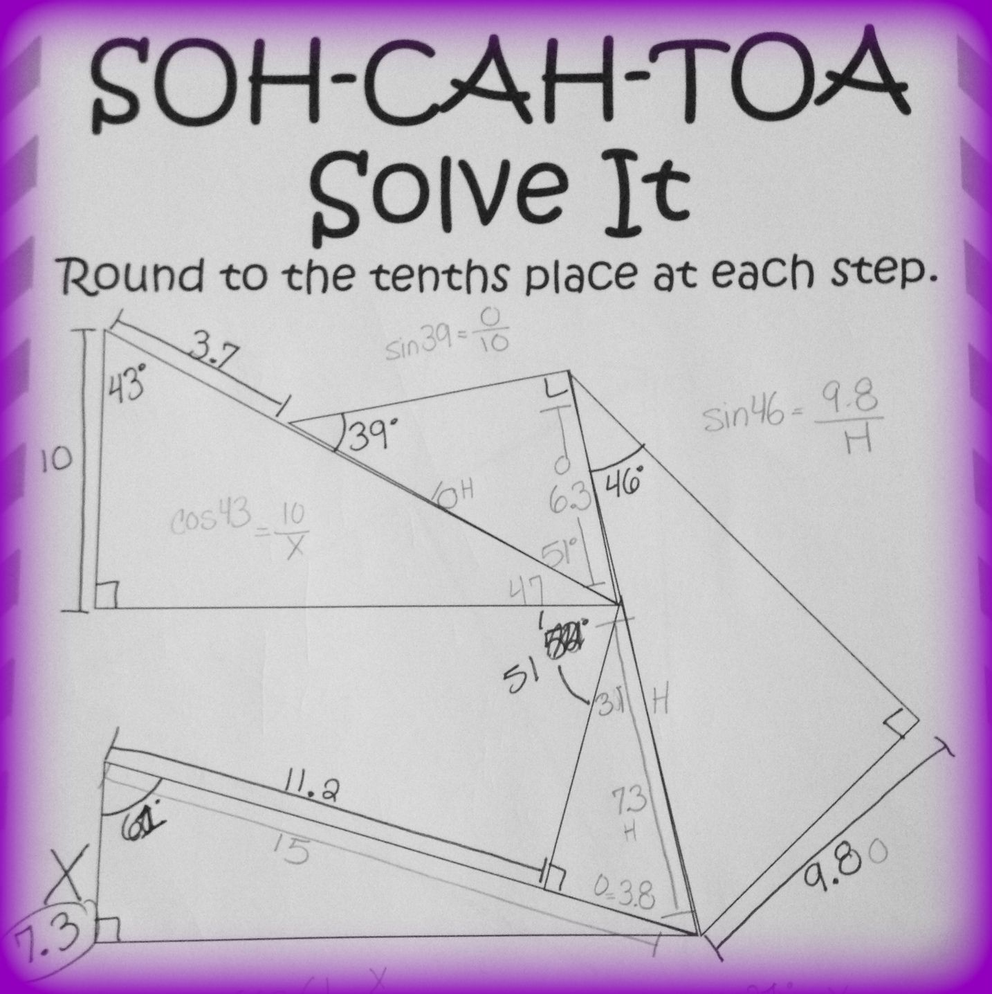 Soh Cah Toa Solve It 3 Sine Cosine Amp Tangent Puzzles