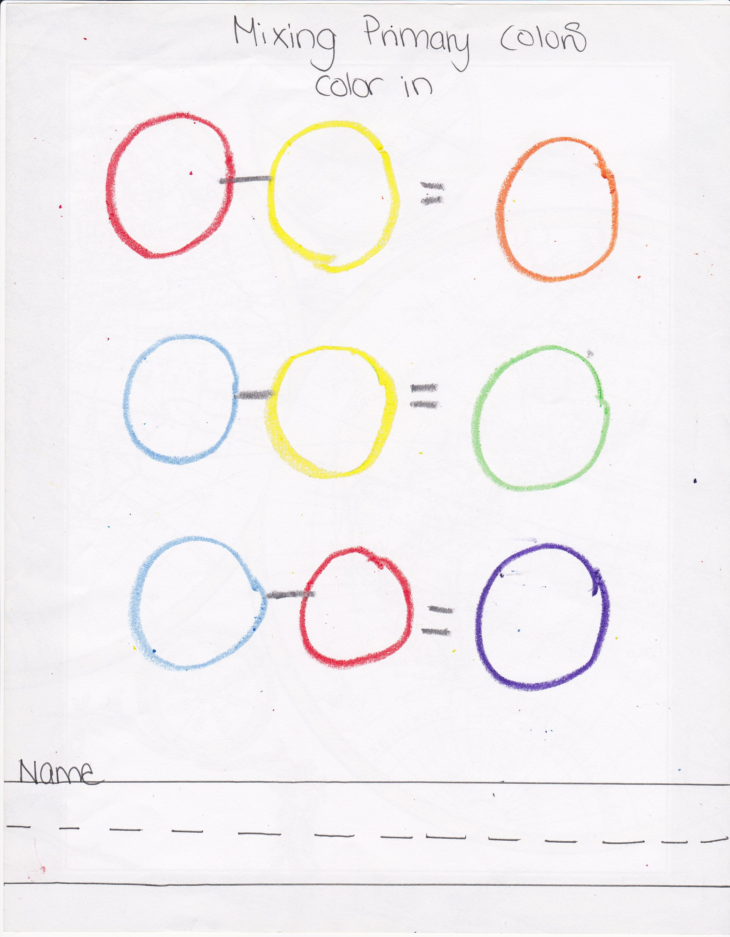 Color Mixing Worksheet First School