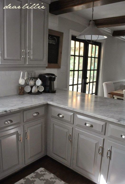 These Are The Actual Paint Colors For This Kitchen Darker Gray Cabinets With Marble Cabinet Color Winter S Gate In Semi Gloss By Benjamin Moore Wall