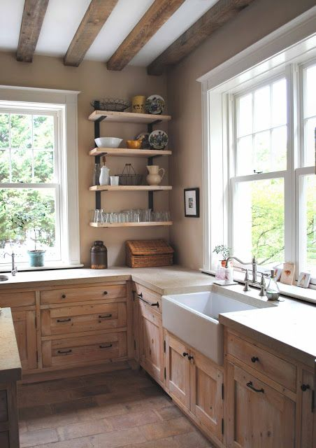 look at this rustic kitchen with the farmhouse sink wood cabinets lots of light and really on farmhouse kitchen no upper cabinets id=46950