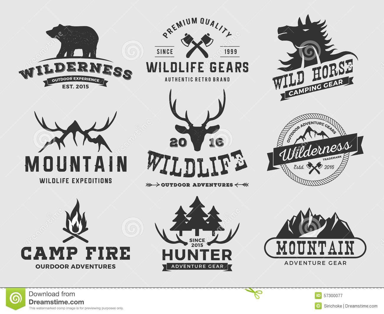 Set Outdoor Wilderness Adventure Mountain Badge Logo