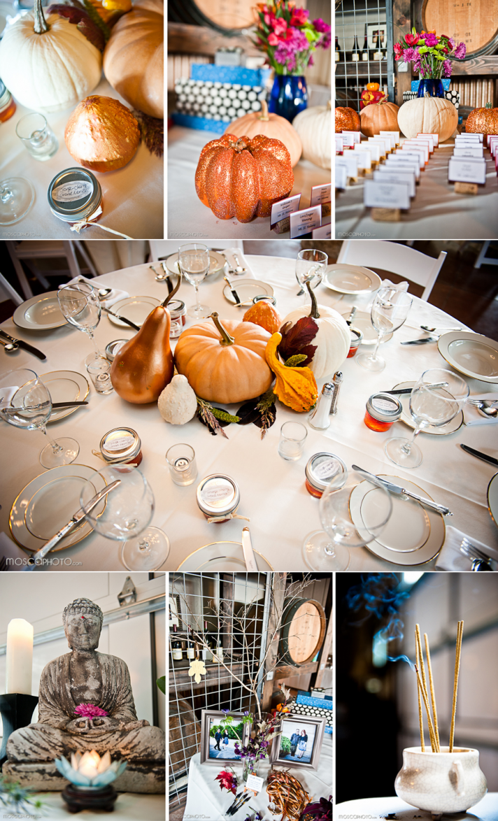 The wedding reception tables featured pumpkins and gourds for this