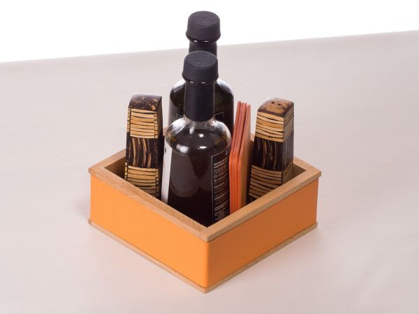 Condiment holder / Wood table organizer / Box for salt and ...