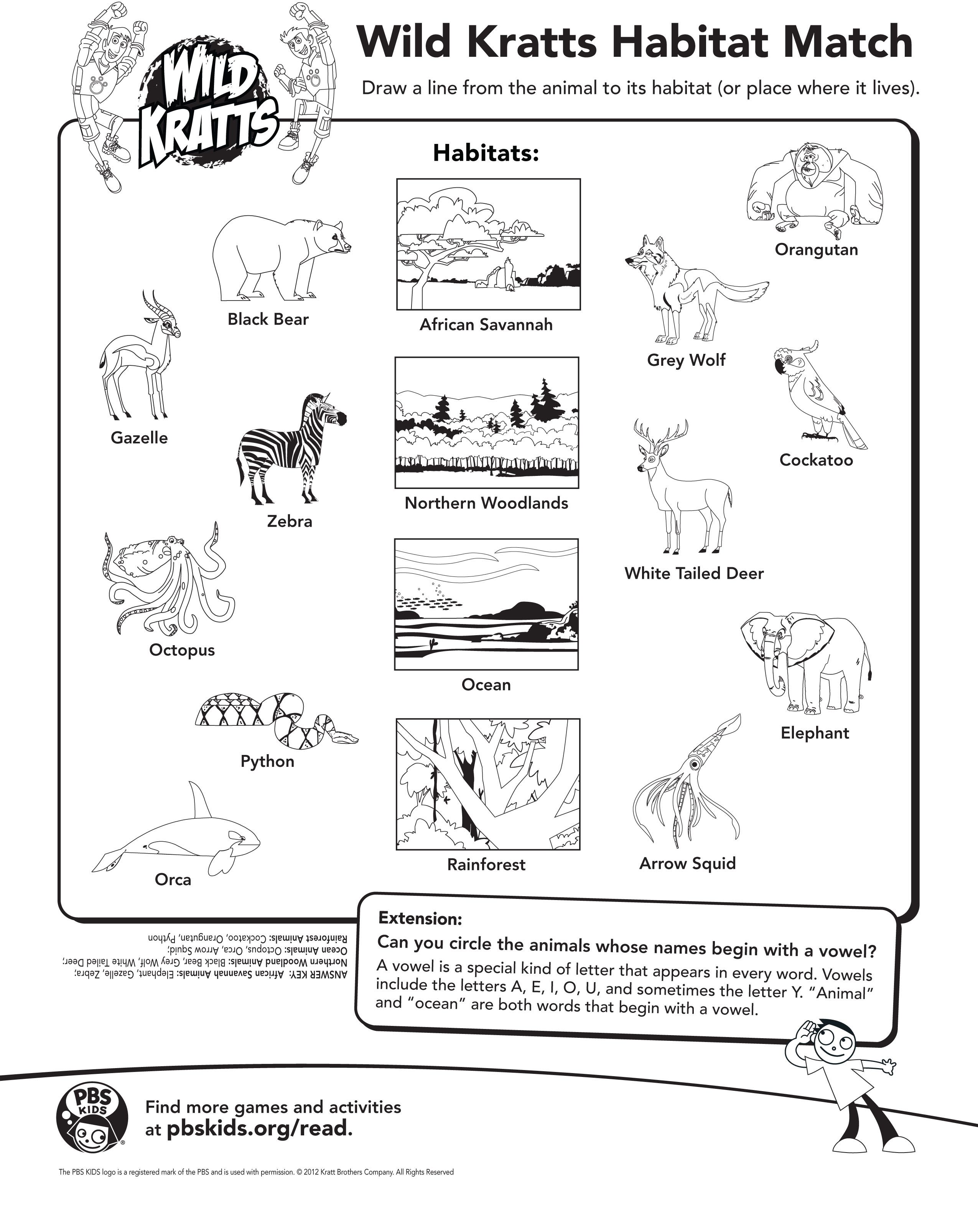 Draw A Line From The Animal To It S Habitat Wild Kratts Activity Page