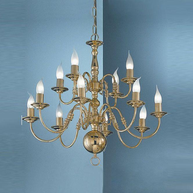 Franklite Pe79112 Delft 12 Light Polished Brass Chandelier