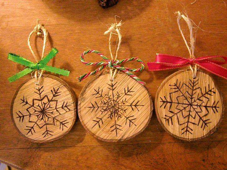 Wood Burned Snowflake Christmas Ornaments by RuffledandRustic