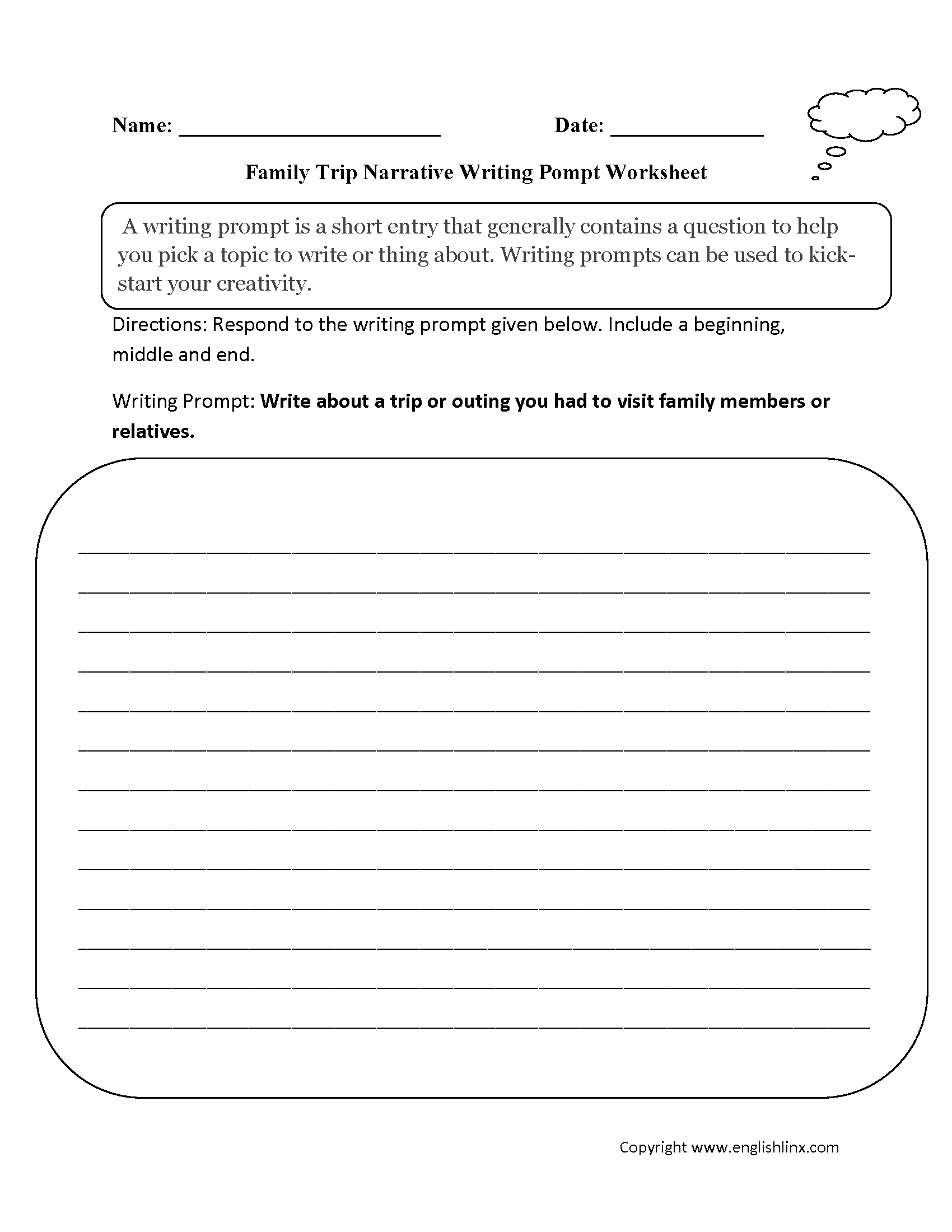Writing Prompt Worksheets Would Be Good For Warm Ups At