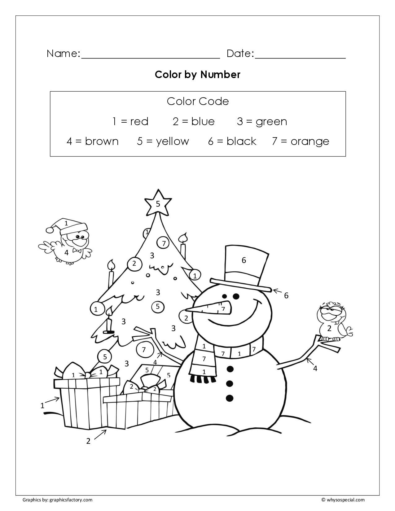 Color By Numbers Free Worksheets