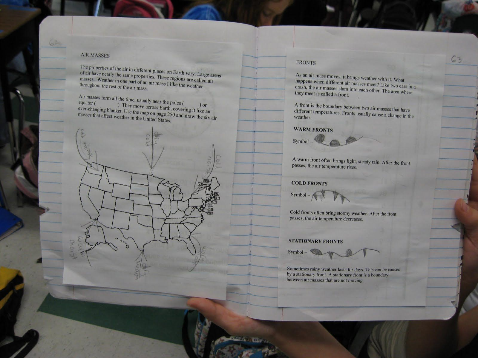 Air Masses And Fronts Notebooking