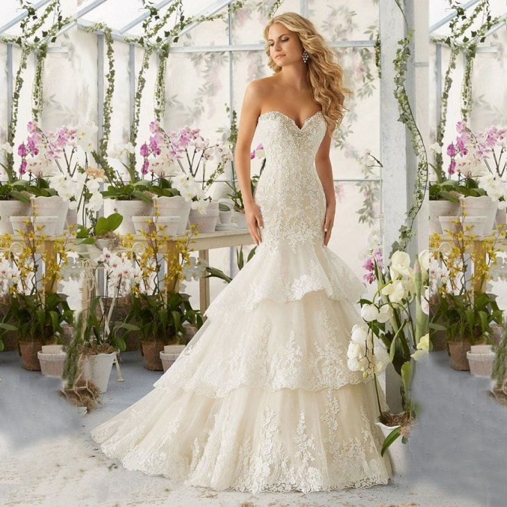 Lace Mermaid Champagne and Ivory Wedding Dresses Off The Shoulder