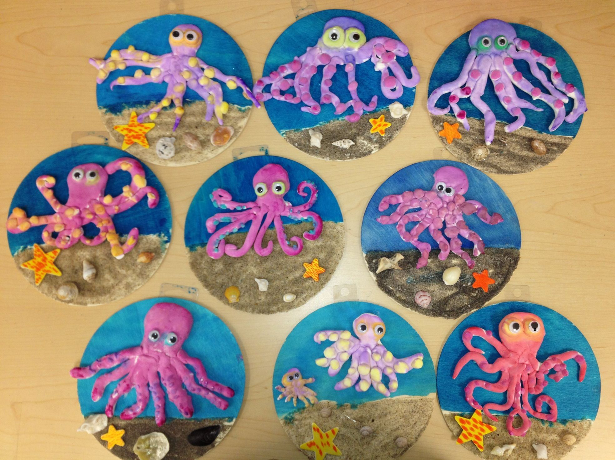 Clay Octopus On Wood W Sand Elementary Art Art Teacher V Giannetto