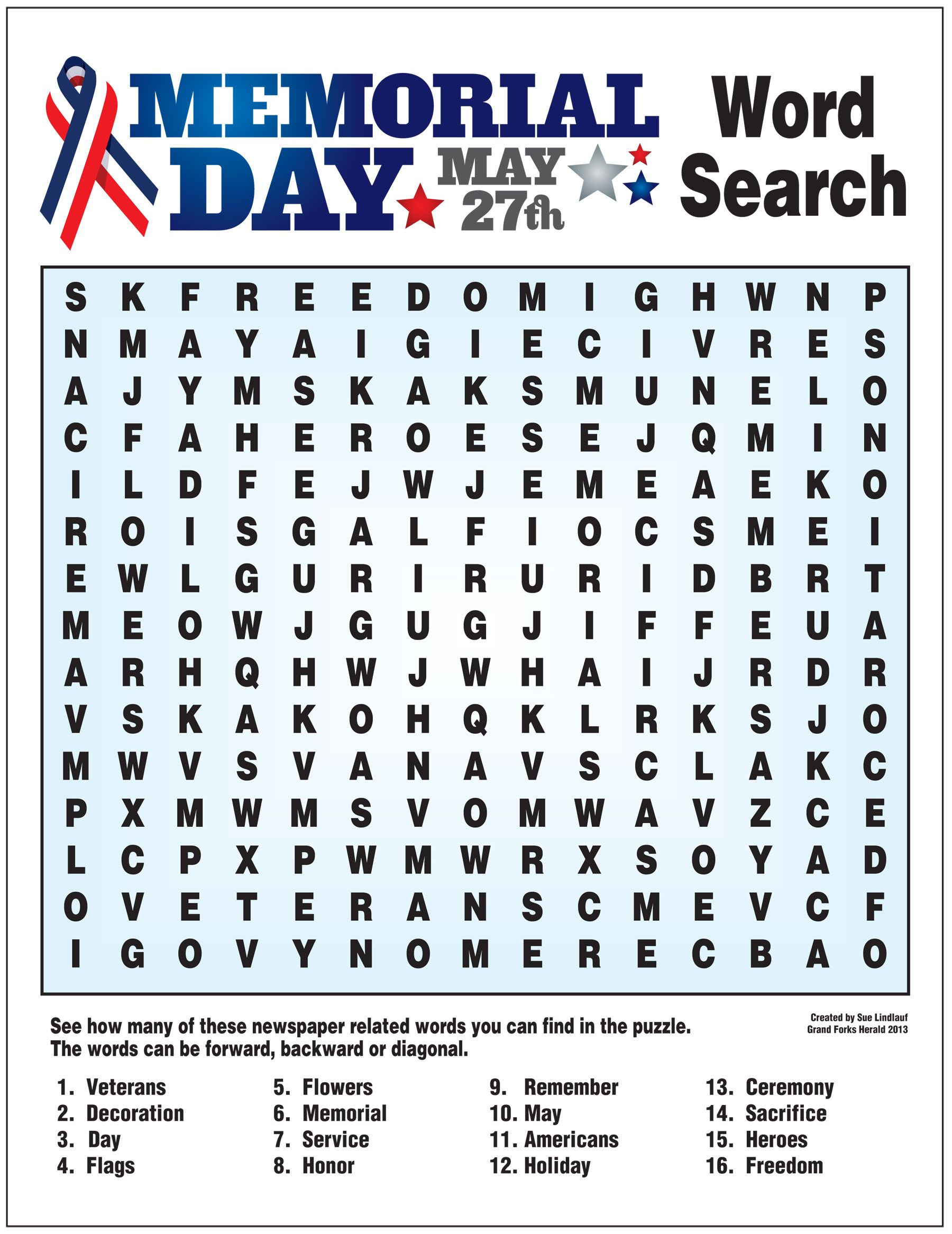 Word Search For Memorial Day