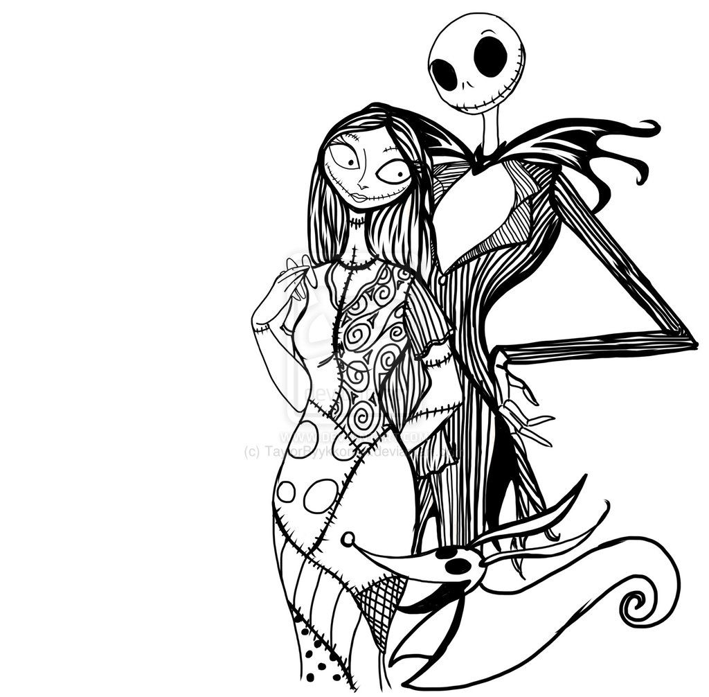 Pix For Gt Jack And Sally Nightmare Before Christmas Coloring Pages