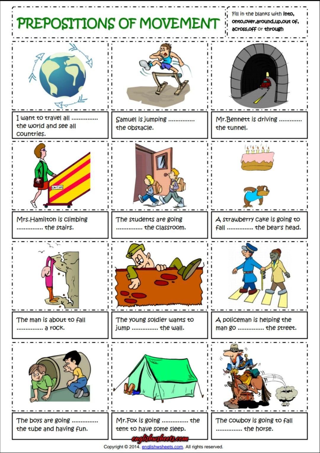 Prepositions Of Movement English Grammar Worksheet