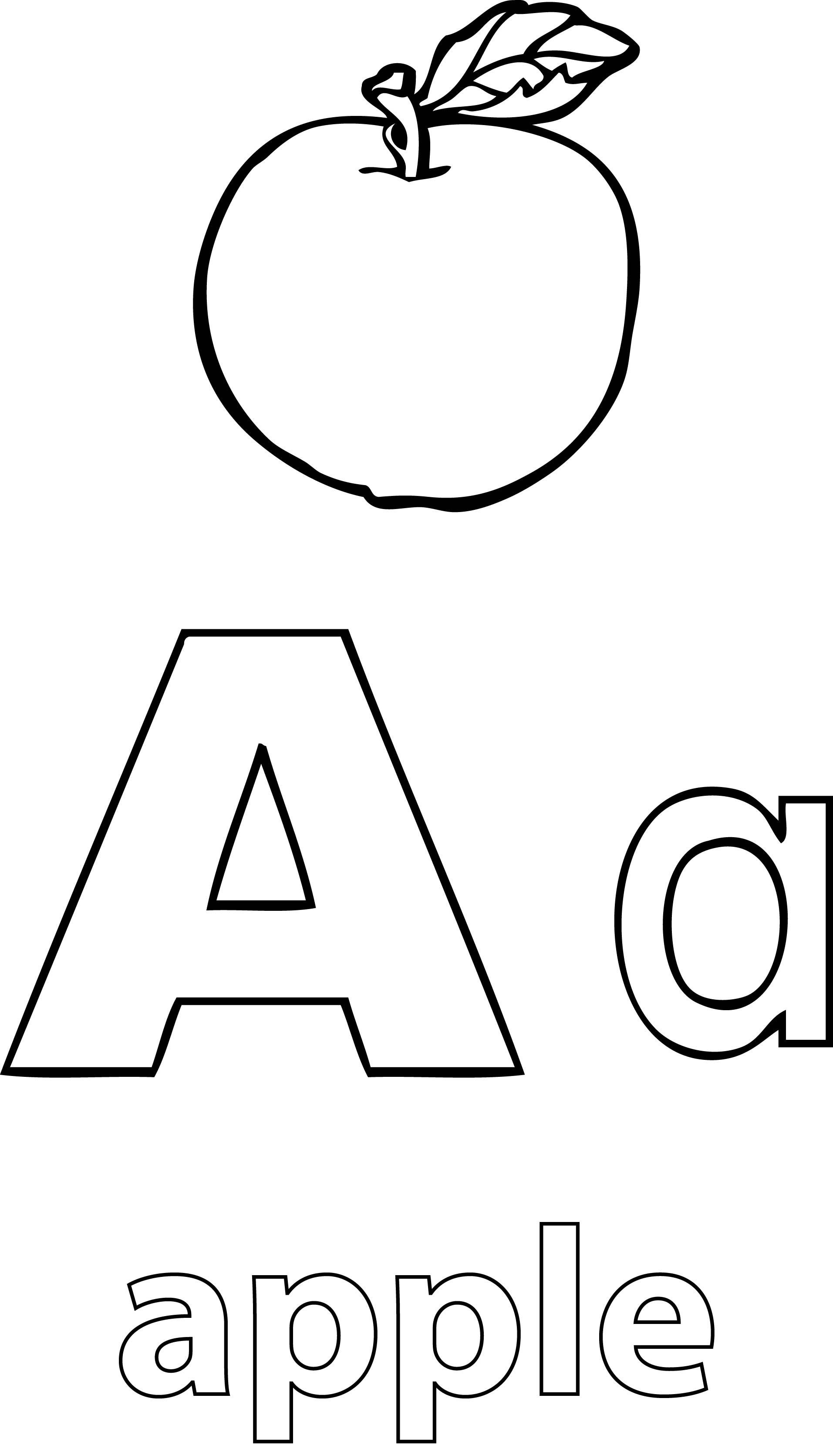 Nice A Alphabet Apple Coloring Page