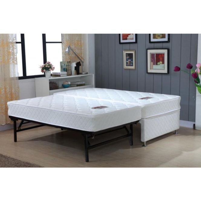 King Single Bed With Trundle And 2 Mattresses Base