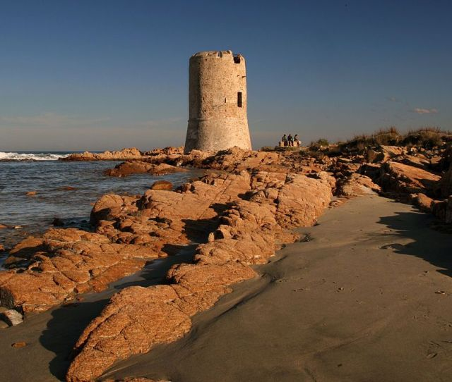 Saracen Tower Praia La Caletta Perto De Siniscola Ilha Da