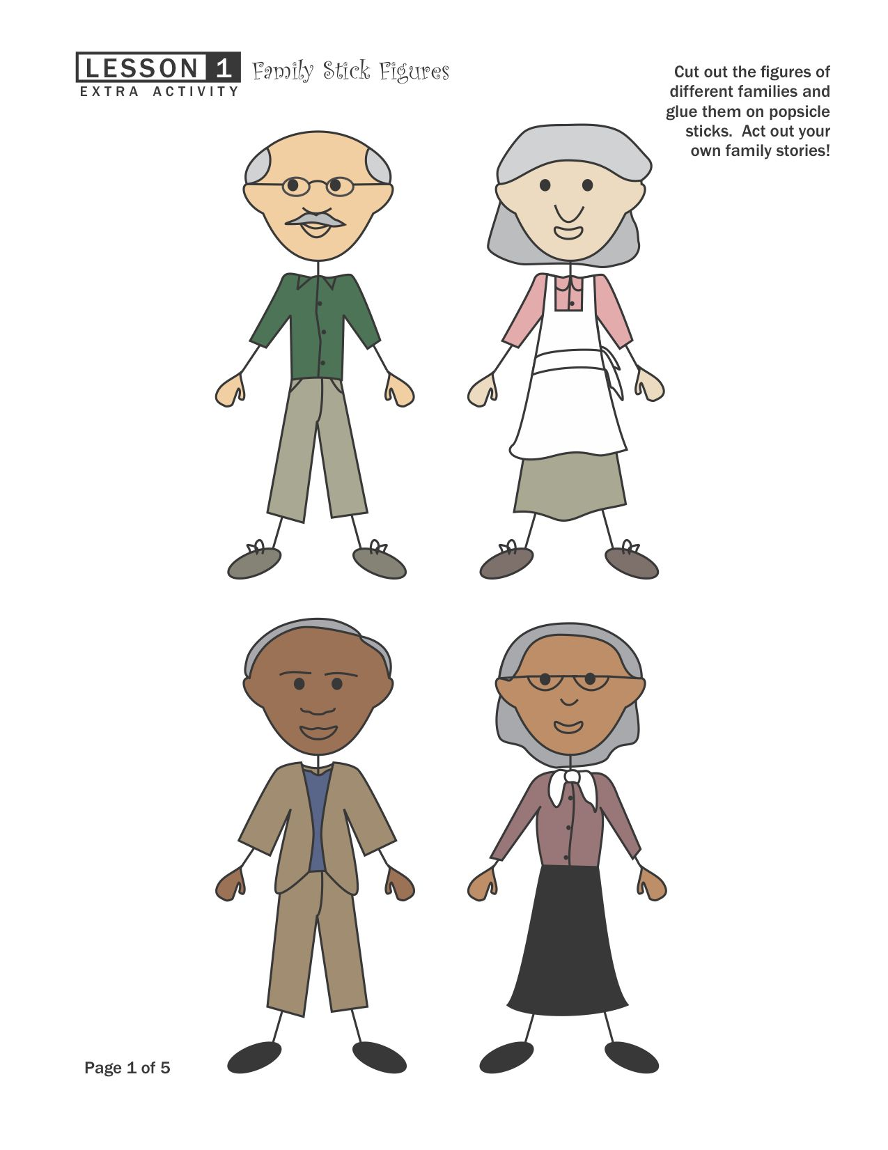 Family Cutouts From Ourtimetolearn Good For Fhe Activity Make Puppets With Popsicle