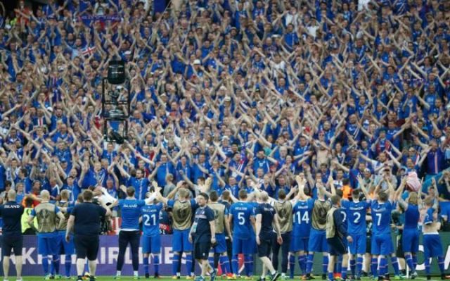 Image result for iceland football team celebration