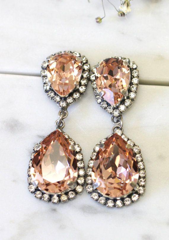 Blush Earrings Bridal Chandelier Drop Statement Long