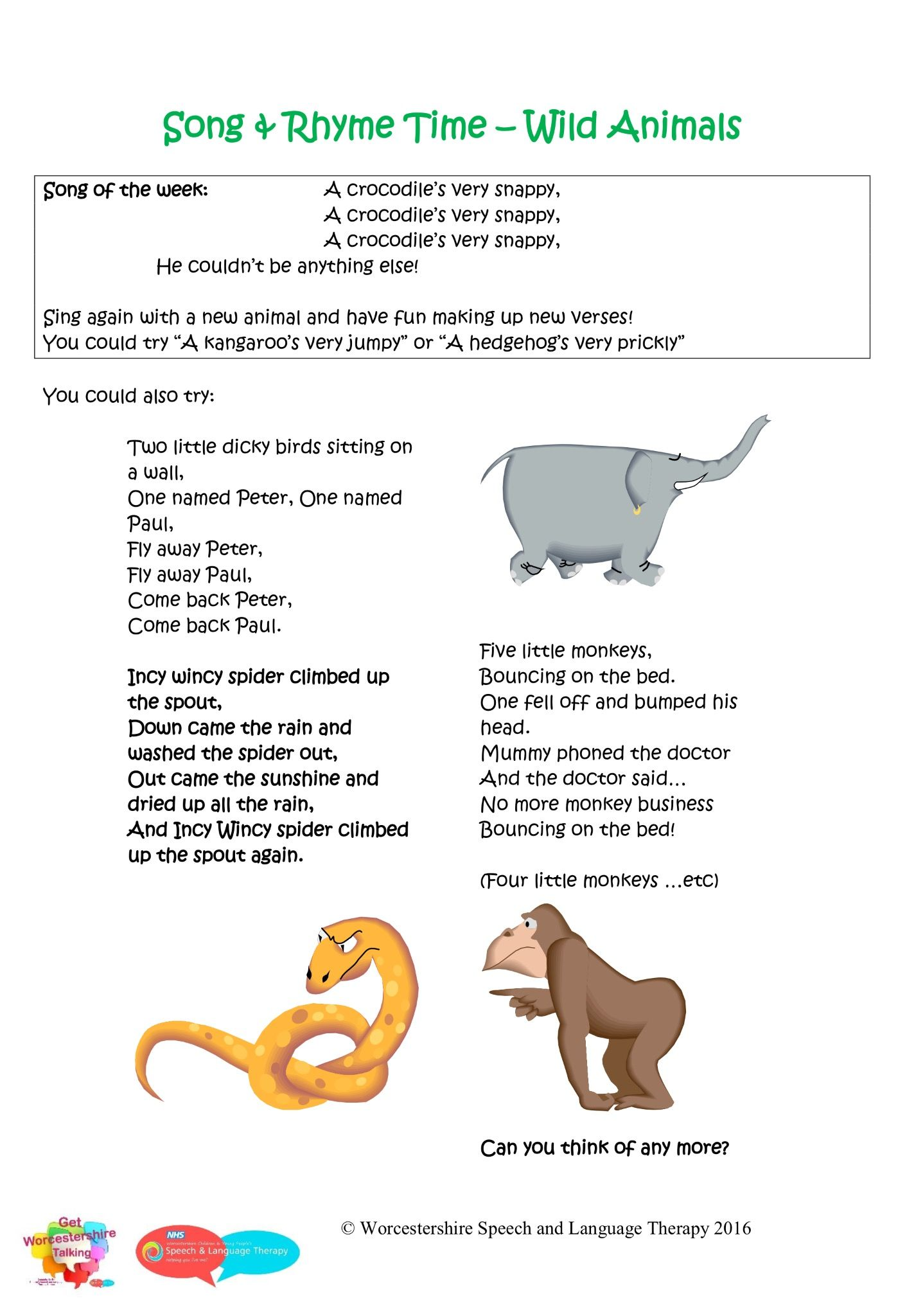 Nursery Rhymes With Wild Animals