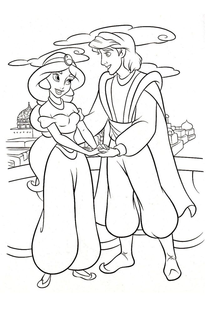 Meeting Jasmine And Aladdin Coloring Pages