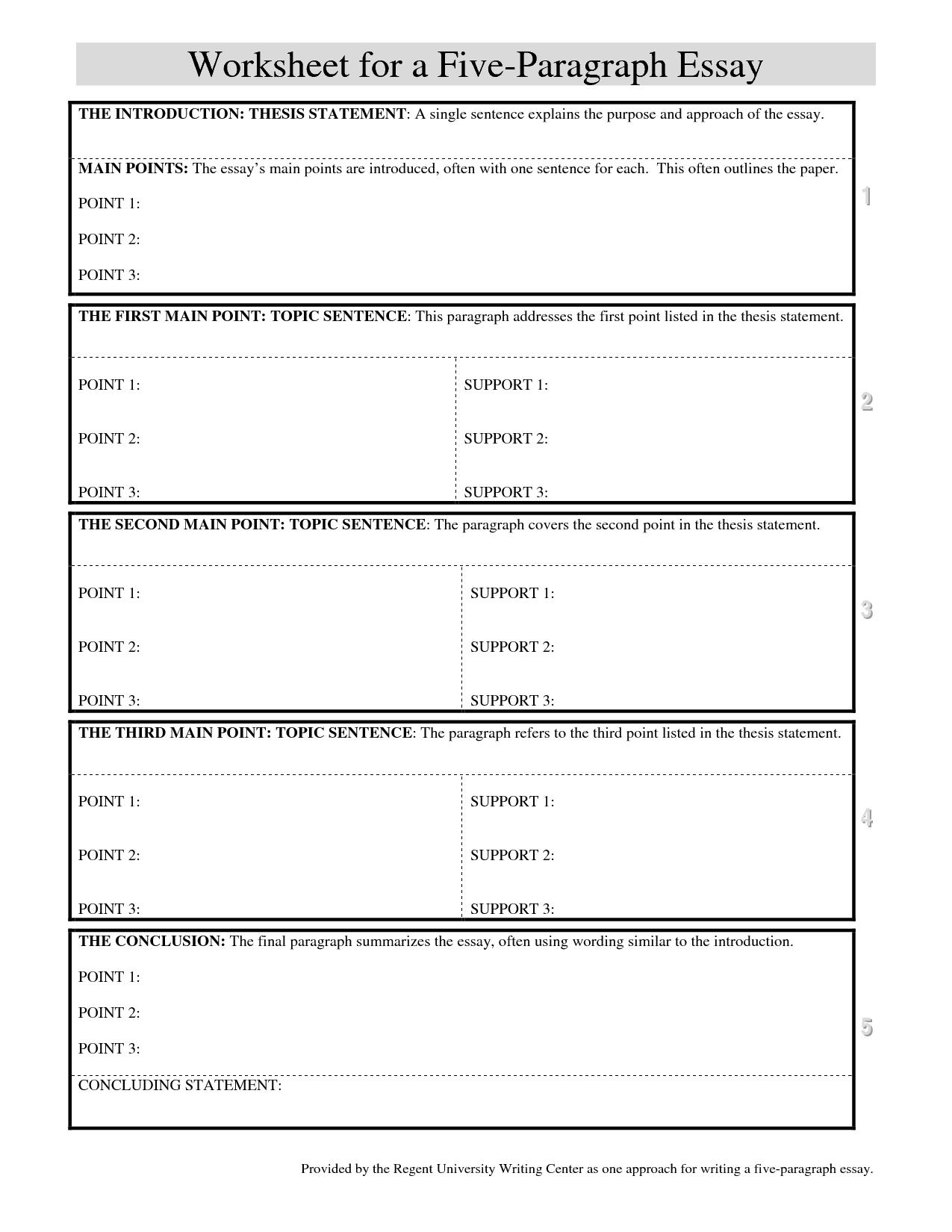 5 Paragraph Essay Outline Worksheet