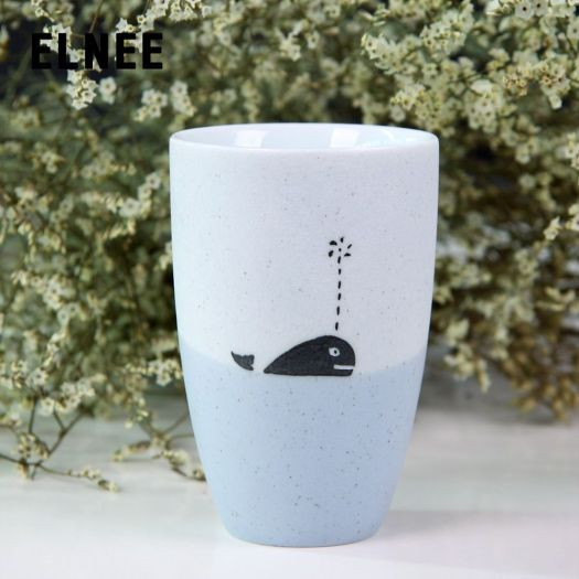 New Home Contend Jingdezhen Hand Painted Blue Whales Original Cartoon Mug Ceramic Cup Birthday Gift Ideas
