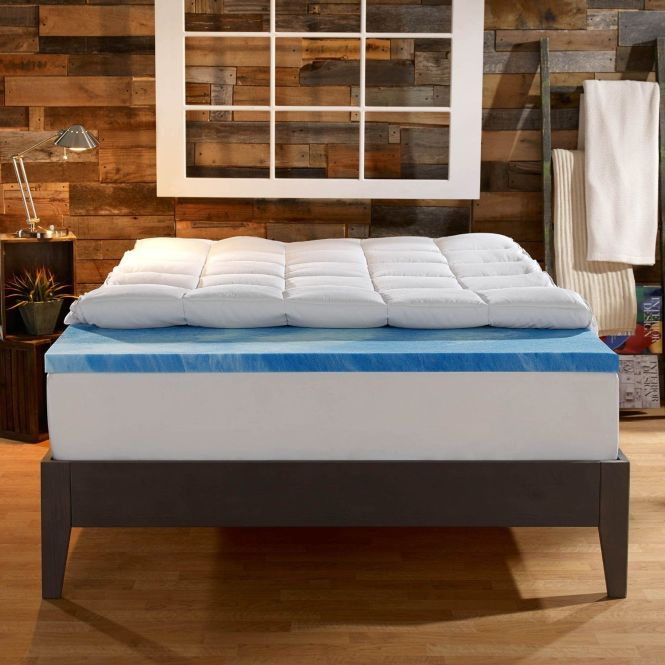Sleep Innovations Dual Layer Mattress Topper Gel Memory Foam And Plush Fiber Queen Size Toppers Free Delivery Possible On Eligible