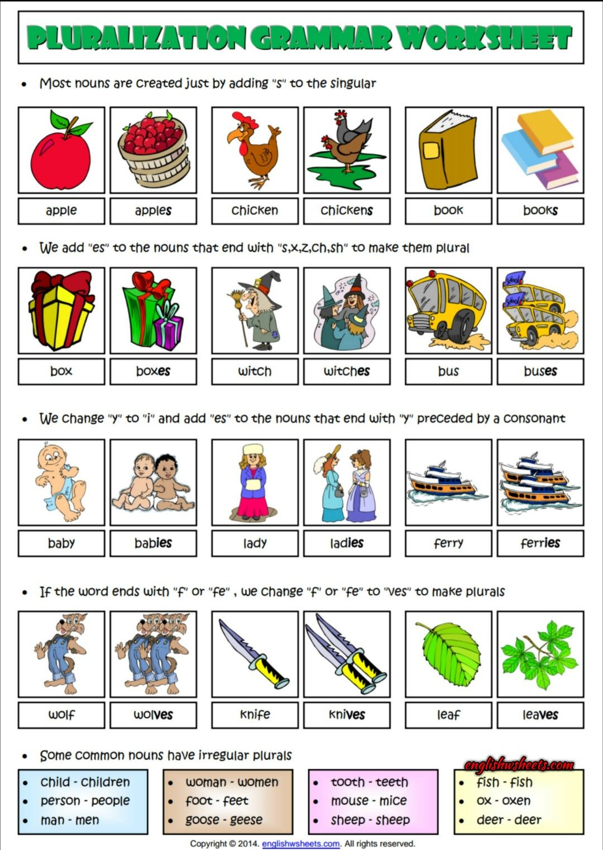Pluralization Rules Esl Grammar Worksheet For Kids