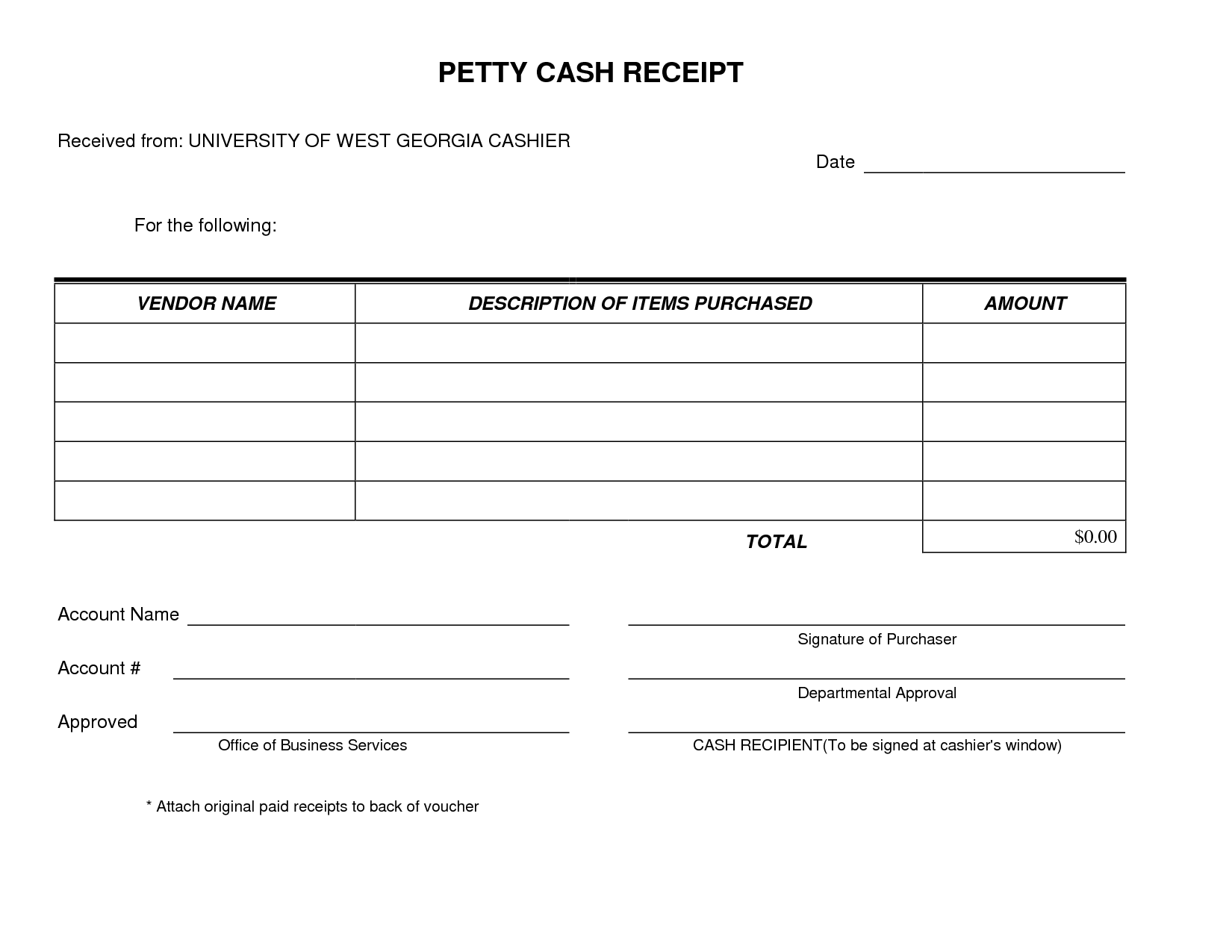 Petty Cash Receipt Form Template Very Simple And Easy To