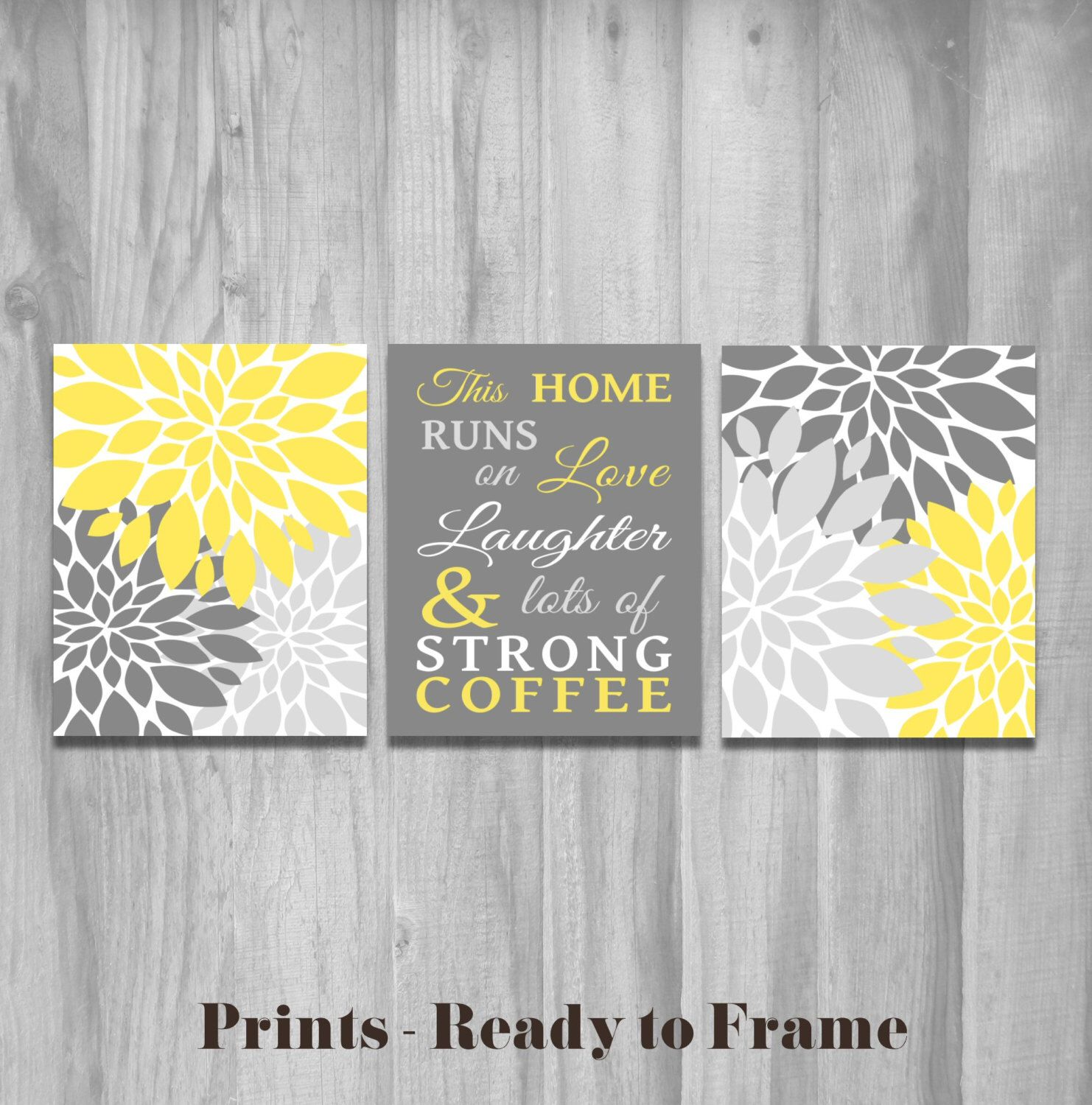 sale kitchen wall art set this home runs on love laughter and lots of strong coffee flower on kitchen decor paintings prints id=46682