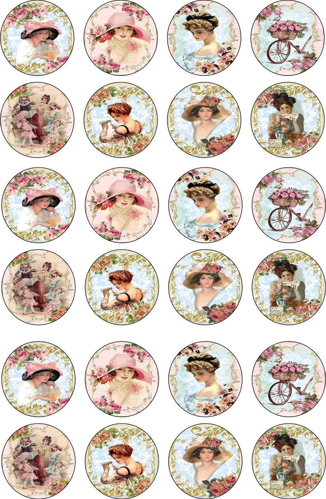 Bottlecap Victorian Women Round And Oval Glossy Stickers Scrapbooking Crafts