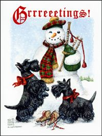 Scottish Terrier And Bag Piping Snowman Christmas Card To